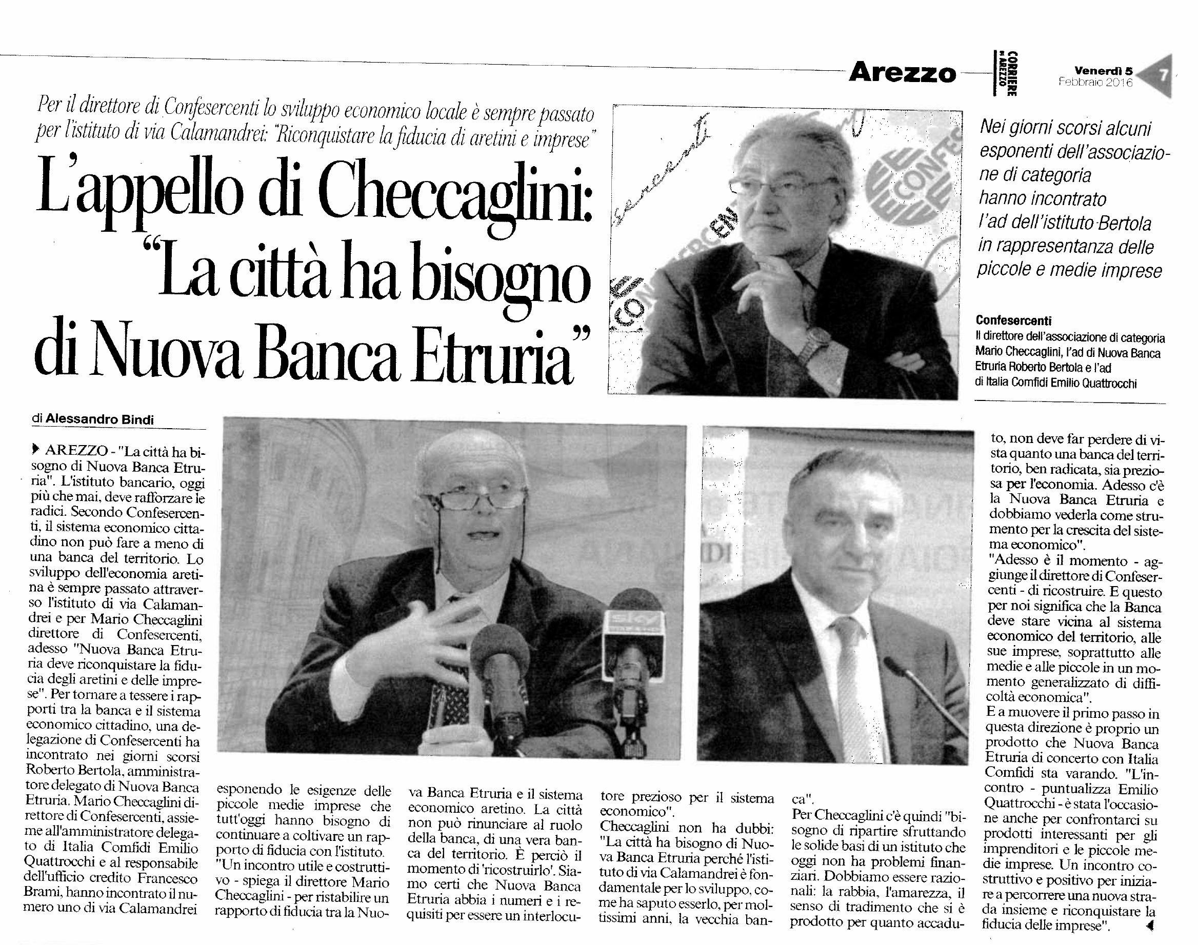 Corriere Di Arezzo 5 Febbraio 2016 Confesercenti