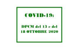 EMERGENZA COVID-19: PUBBLICATO IL NUOVO DPCM IN VIGORE DAL 19 OTTOBRE AL 13 NOVEMBRE