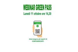 GREEN PASS, OBBLIGO PER I LAVORATORI: WEBINAR DI APPROFONDIMENTO